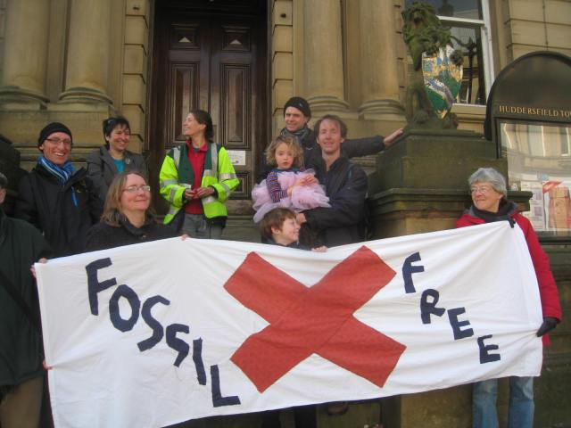 Fossil Free Kirklees supporters outside Huddersfield Town Hall
