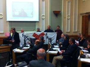 Handing in Fossil Free Kirklee petition in Kirklees Council chamber