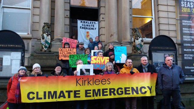 Kirklees Climate Emergency campaigners at Huddersfield Town Hall